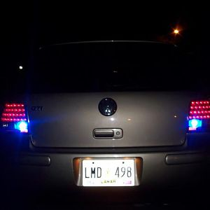 the led tails w/blue led reverse lights (thinkin bout smokin them out)